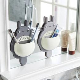 1 sztuk szczoteczka do zębów uchwyt do montażu na ścianie śliczne Totoro Sucker ssania łazienka organizator narzędzia rodzinne a