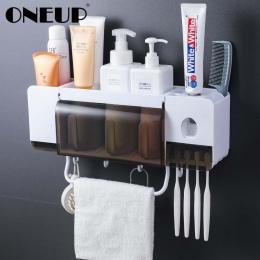 ONEUP uchwyt na szczoteczki do zębów pasta do zębów dozownik do wyciskania zestawy akcesoriów łazienkowych 5 sztuk łazienka pude