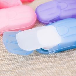 20 sztuk jednorazowe mydło arkusz wygodne mycie rąk mydło w płynie podróży przenośne Mini czyszczenie mydła piankowe pudełko pap