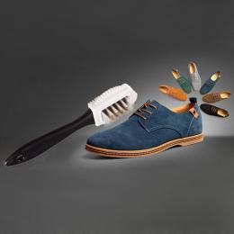 1 sztuk trwałe czarny 3 boczne zestaw do czyszczenia szczotki do zamszu nubuku buty S kształt buta Cleaner szczotka do czyszczen