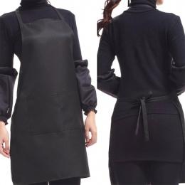 Czarny kolor 63x70 cm poliester klasyczny design pracy fartuch kuchenny fartuch z kieszenią pary fartuch