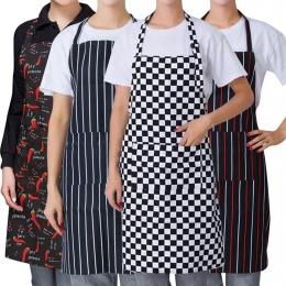 1 PC paski Plaid długi moda mężczyzna kobiet talii fartuch z kieszenią z wyżywieniem we własnym zakresie kucharz kelner Bar fart