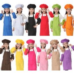 Fartuch dziecięcy dla dzieci z długim rękawem kapelusz kieszeń przedszkole kuchnia do pieczenia malarstwo gotowanie napoje jedze