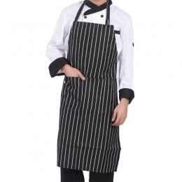Regulowana w paski szefa kuchni fartuchy z kieszeniami bez rękawów dla dorosłych mężczyzn dla kobiet fartuch kuchenny narzędzia