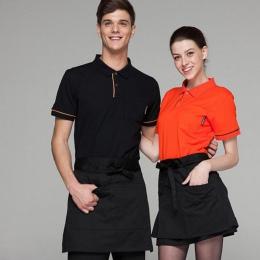 Czarny wodoodporny pół fartuch z wyżywieniem we własnym zakresie do pieczenia Bar Hotel kelner kuchnia fartuch domowy 3 kieszeń