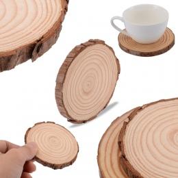 Drewniany kawałek puchar Mat naturalne okrągłe Coaster herbaty kawy kubek uchwyt na napoje dla DIY rzemiosło wesele dekoracji