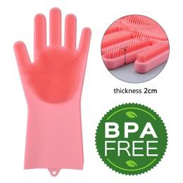 Kuchenne silikonowe rękawice do sprzątania magia danie rękawice do mycia dla gospodarstw domowych gumowe do szorowania gumowe da