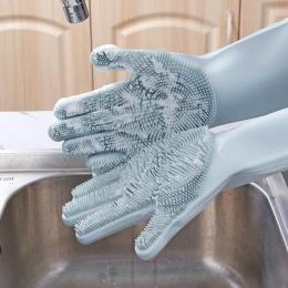 1 para danie rękawice do mycia magia silikonowe naczynia rękawice do sprzątania z szczotka do czyszczenia mycia naczyń usługę sp