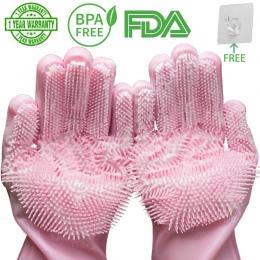 Magiczne silikonowe płuczka do zmywania naczyń gąbka do mycia naczyń gumowe peeling rękawice do czyszczenia kuchni 1 para