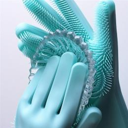 1 sztuk Food Grade rękawice do mycia naczyń naczynia krzem rękawice do sprzątania z szczotka do czyszczenia mycia naczyń usługę