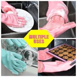 Magiczne silikonowe rękawice do sprzątania do mycia naczyń do odkurzania danie rękawice do mycia do czyszczenia zastawa stołowa