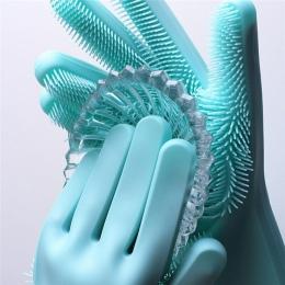 SJ Food Grade silikonowe rękawice do mycia naczyń krzemu rękawice do mycia naczyń z szczotka do czyszczenia w domu szorowania rę