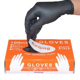 100 sztuk/pudło czarny Jednorazowe rękawice nitrylowe proszek darmowa obunożny lekarskie są obowiązkowe w karierze dom zastosowa