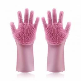 1 para naczynia krzem rękawice do sprzątania z szczotka do czyszczenia Food Grade rękawice do mycia naczyń naczynia do mycia usł