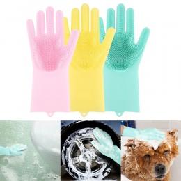 1 para Magic Home rękawice do mycia naczyń silikonowy lateks rękawiczki ekologiczne gospodarstwa domowego ogród rękawice do sprz
