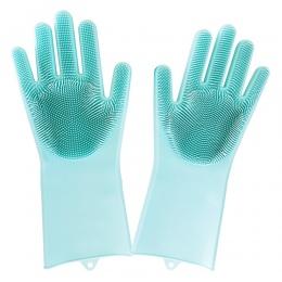 1 pairs krzemu skrobaczka do naczyń guma magia rękawiczki Food Grade gąbka do czyszczenia do mycia naczyń do naczyń magiczne ręk