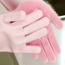 1x naczynia krzem dom rękawice do sprzątania z szczotka do czyszczenia 100% Food Grade zmywanie naczyń kuchnia usługę sprzątania