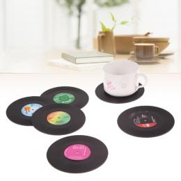 6 sztuk/zestaw Retro winylu pić podstawki stolik mata wystrój domu rekord CD do picia kawy kubek podkładka zastawa stołowa gadże