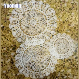 Ręcznie robione bawełniane okrągły podkładka kubek coaster kubek kuchnia ślub podkładka na stół tkaniny koronki Crochet herbata