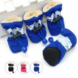 4 sztuk wodoodporna zima Pet buty dla psów antypoślizgowe deszcz śnieg buty obuwie grube ciepłe dla małych koty psy Puppy skarpe