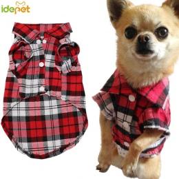 Ubrania dla psów dla psów miękkie lato Plaid kamizelka dla psa ubrania dla małe pieski chihuahua bawełna Puppy koszule T koszula