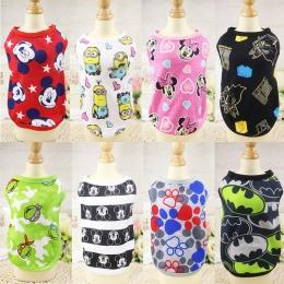 Słodkie ubrania dla psów lato bawełna Puppy koszule T koszula kot kamizelki kostium kreskówkowy odzież dla małych zwierząt domow
