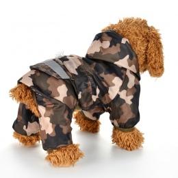Płaszcz przeciwdeszczowy dla psów Puppy deszcz płaszcz z kapturem odblaskowe wodoodporne ubrania dla psa miękkie oddychające zwi