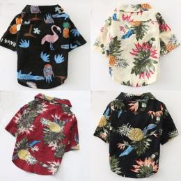 2019 lato koszula plażowa dla psów słodkie druku hawaje plaża na co dzień podróży zwierzę koszula ananas Flamingo z krótkim ręka
