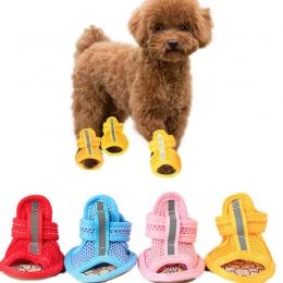 4 sztuk/partia gorąca sprzedaż dorywczo antypoślizgowe małe buty dla psów śliczne obuwie dla zwierząt buty wiosna lato oddychają