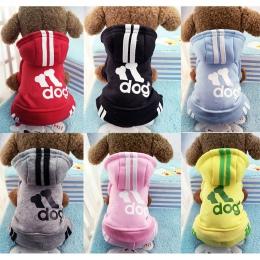 Zimowe ciepłe ubrania dla zwierząt domowych miękka bawełna cztery nogi bluzy z kapturem strój dla małe pieski chihuahua mops swe