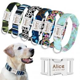 Obroża dla psa spersonalizowane dla psa z nylonu Tag kołnierz niestandardowe Puppy Cat tabliczka znamionowa ID obroże regulowany