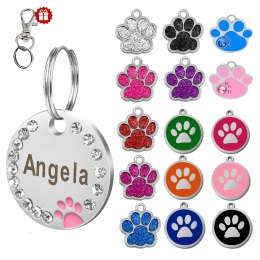Niestandardowe Dog Tag grawerowane obroża dla zwierząt akcesoria spersonalizowane kot Puppy ID Tag ze stali nierdzewnej Paw nazw