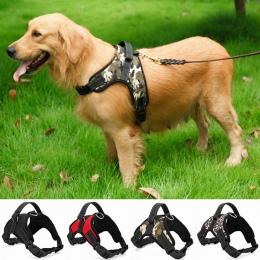 Nylon dla psów Heavy Duty uprząż zwierzęca kołnierz regulowany wyściełane Extra duży duży średni mały pies szelki kamizelki Husk