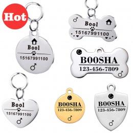 Spersonalizowane pies ID tagi ze stali nierdzewnej identyfikatory dla zwierząt dla koty i psy kołnierz akcesoria Dog Tag grawero