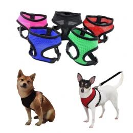 1 PC regulowany miękkie oddychające szelki dla psa Nylon Mesh kamizelka szelki dla psów obroża dla kota kocie pies klatka piersi