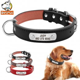 PU skóra obroża dla psa wytrzymała wyściełane spersonalizowane Pet obroże ID dostosowane dla małych średnich dużych psów kot cze