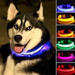Obroża dla zwierząt LED z nylonu, noc bezpieczeństwa miga Glow In The Dark smycz dla psa, psy Luminous fluorescencyjne obroża dl