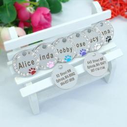 Spersonalizowane nieśmiertelnik Custom Pet Puppy kot ID Tag obroża akcesoria stal nierdzewna grawerowane nazwa Tag łapy dla psów
