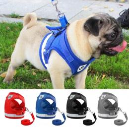 Szelki dla psa dla Chihuahua Pug małych średnich psów siatka nylonowa Puppy kot szelki kamizelki odblaskowe Walking Lead smycz P