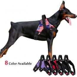 Średniej długa uprząż dla psa nylonowe kamizelki odblaskowe szelki dla psów szkolenia Husky Alaskan buldog piersi-pas taśmowy re