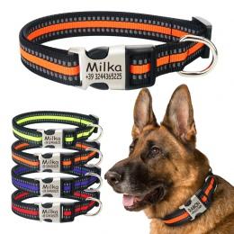 FLOWGOGO odblaskowe nylonowe spersonalizowane grawerowane obroża dla psa obroża dla kota obroże dla zwierząt domowych ID Tag dla