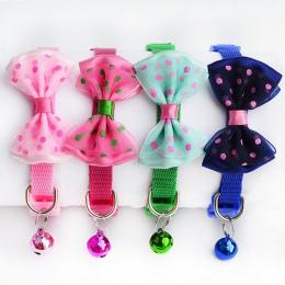Szczeniak moda regulowany ładny krawat pies kot Pet obroża z nylonu dzwonkiem kotek cukierki kolor 1 pc nowy łuk krawat Bowknot