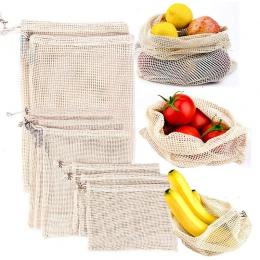 Wielokrotnego użytku z bawełny warzyw strona główna kuchnia owoce i warzywa do przechowywania worki siatkowe ze sznurkiem można