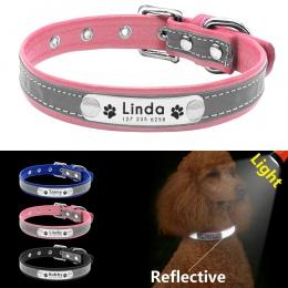 Odblaskowa obroża dla psa spersonalizowane obroże dla psów skórzane wyściełane obroża dla psów dla małych średnich psów Chihuahu