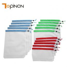 15 sztuk wielokrotnego użytku siatki torby z siatki zmywalne torby na zakupy spożywcze przechowywanie owoców warzywa zabawki org