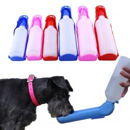 250/500 ml butelka na wodę dla psów podajnik z miska z tworzywa sztucznego przenośna butelka na wodę zwierzęta na zewnątrz podró