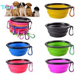 Przeniesienie podróży składany silikonowy miska dla zwierząt żywności wody karmienia BPA za darmo składany kubek danie dla psów
