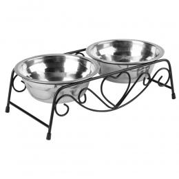 Podwójne dla zwierząt domowych miska dla psa miska ze stali nierdzewnej z tworzywa sztucznego karma dla kotów podajnik do karmie