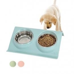 Ze stali nierdzewnej podwójne miski dla zwierząt żywności podajnik wody dla psów Puppy koty zwierzęta domowe naczynia do karmien