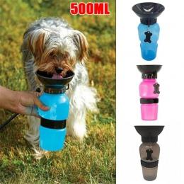 Pies przenośny podajnik wody na świeżym powietrzu butelka na wodę dla zwierząt domowych Anti-overflow projekt butelka na wodę dl